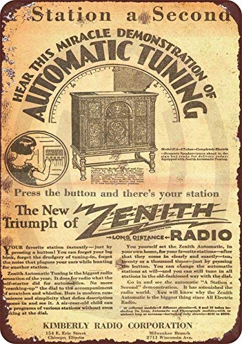 1920 Zenith Radio Vintage Look Reproduction Metal Sign 8x12