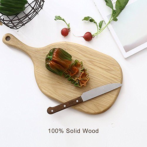 rs Serving Board With Handle, Small Pizza Stone Peel Chopping Paddle Cutting Slicing Platter For Cake Bread Sushi Crackers Biscuits Fruits Meat (Oak, 13x7 Bread Board) ()