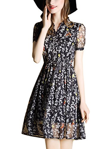 Vestido de manga corta De Las Mujeres De cuello en V vestidos de cóctel De Impresión Verano Negro