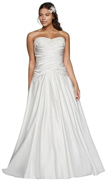 David\'s Bridal Satin Beaded Lace Applique Plus Size Wedding Dress ...