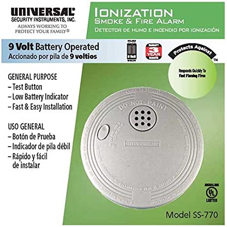 24 Pack Bundle of Universal Security Instruments Compact Size Battery-Operated Ionization Smoke and Fire Alarm (SS-770-24CC) - - Amazon.com