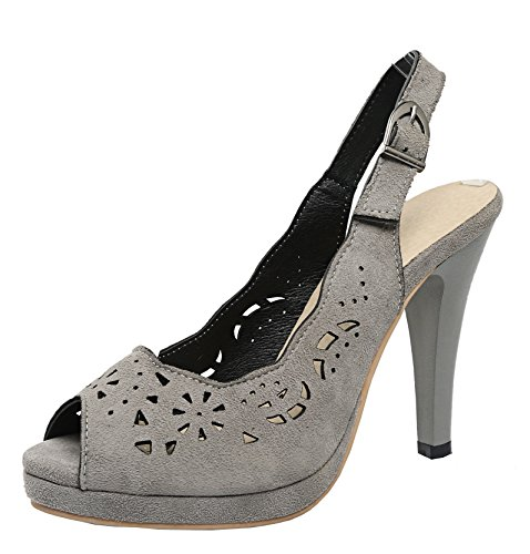 de YE Mujer correa Zapatos gris tobillo con qAxPpvnAT