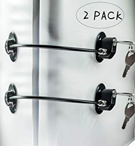 2 Pack Refrigerator Door Locks,Freezer Door Locks,File Drawer Cabinet Locks by REZIPO Black with 4 keys