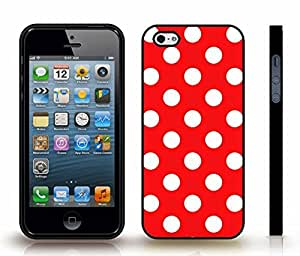 iStar Cases? iPhone 5/5S Case with White Polka Dots on Red , Snap-on Cover, Hard Carrying Case (Black) by icecream design
