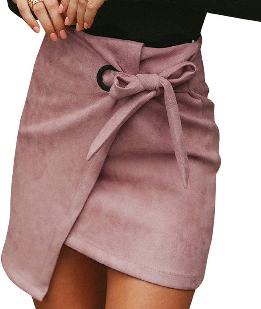 Nobrand Falda de Ante asimétrica para Mujer Anudada Falda de Invierno de Cintura Alta con Abertura Sexy Falda Casual de Cuero de otoño