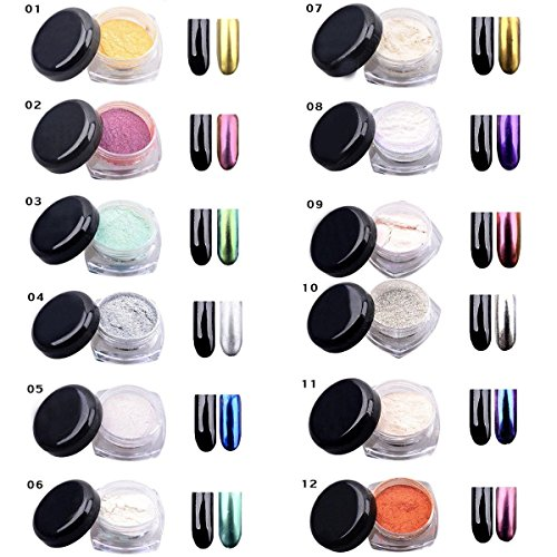 Yosoo 12 COLORS 2g/Box Glitter Magic Mirror Chrome Effect Du
