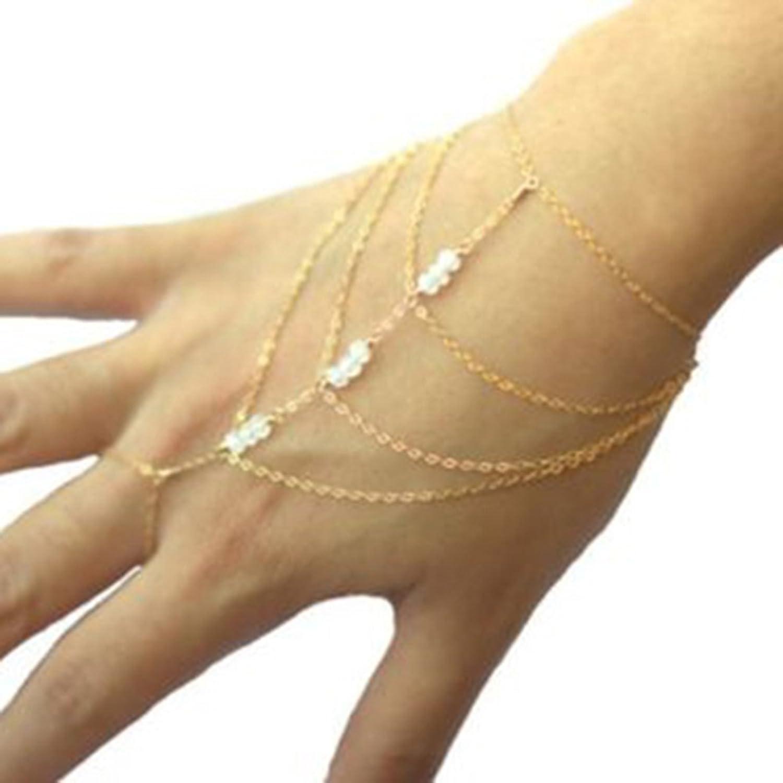 Celebrity Elegant Harness Tassel Slave Chain Link Finger Ring ...