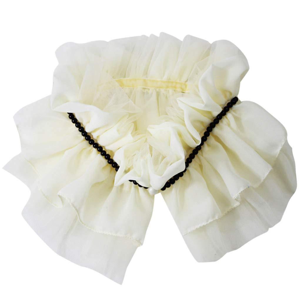 FEDULK Fake Collar False Faux Doll Collar Detachable Blouse Women's Half Shirts Lace Vintage Elegant(White, Free Size)