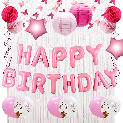 - Happy Birthday Balloons Decorations Banner, Pink Butterfly Garland, Birthday Party Balloons, Paper Lanterns, Honeycomb Balls, Party Hanging Swirls Ribbons, Foil Fringe Curtains