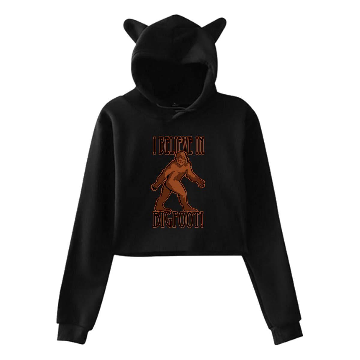 Womens Long Sleeve Crop Top Hoodies Believe in Bigfoot Cat Ear Lumbar Hoodie Pullover Sweater