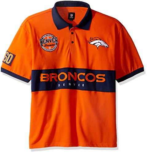 cos Men's Cotton Wordmark Short Sleeve Polo Shirt, Blue, XX-Large (Denver Broncos Polo)