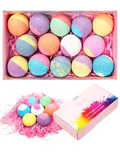 Bath Bombs Gift Set, Anjou 14 Pack Moisturizing with Vegan Natural Essential Oils, lush Spa Fizzies Jojoba Oil, Shea butter, Christmas Gift Kit Ideas for Kids, Women, Moms, Girlfriend