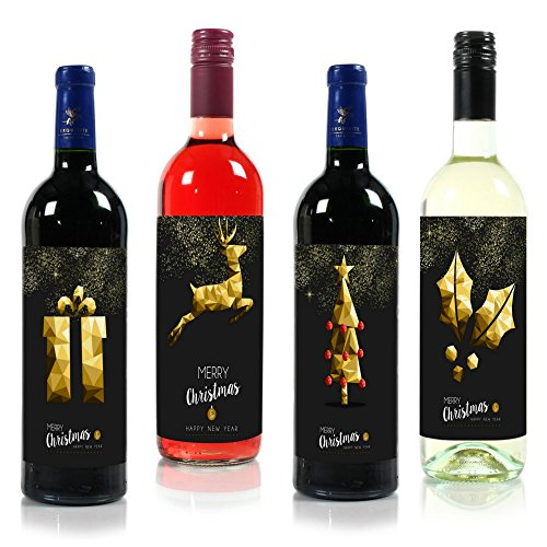 """Black & Gold Premium Christmas Wine Labels 5"""" x 7"""" (4 Pack) - Merry Christmas and A Happy New Year"""
