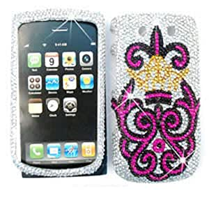 CELL PHONE CASE COVER FOR BLACKBERRY TORCH 9800 RHINESTONES PINK ROYAL BADGE ON WHITE