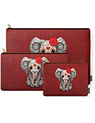 Society6 Deep Red Day Of The Dead Sugar Skull Baby Elephant Carry-All Pouch
