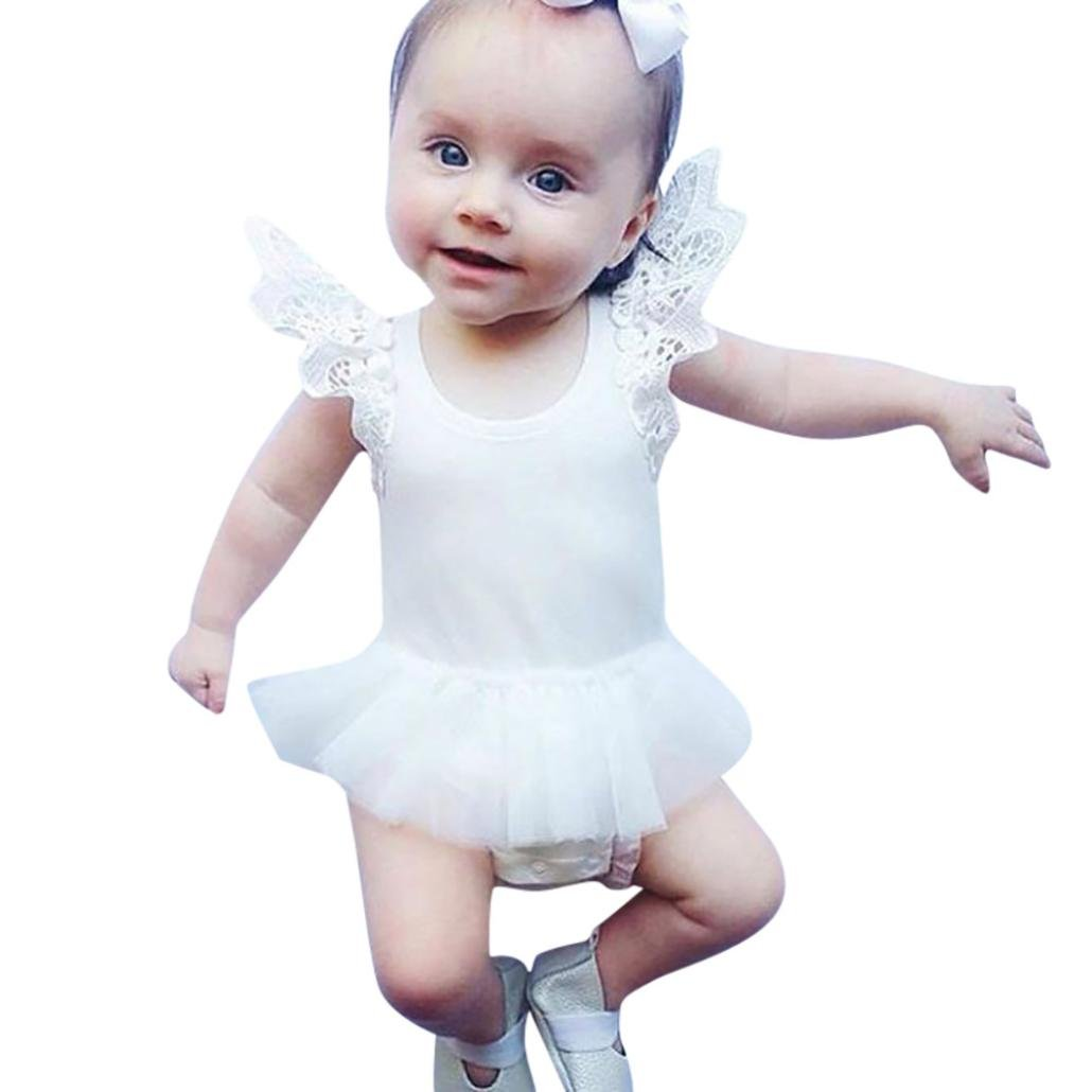 Kaiki Baby Girl Romper Jumpsuit Tutu Dress, Infant Cute Ruffles Lace Sleeve Bodysuit Tulle Tutu Princess Dress Summer Clothes for 0-18 Months
