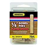 "General Tools 840014 1/4"" Fluted Wood Dowel Pins, 72-Pack"