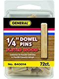 General Tools 840014 1/4-Inch Fluted Wood Dowel Pins, 72-Pack