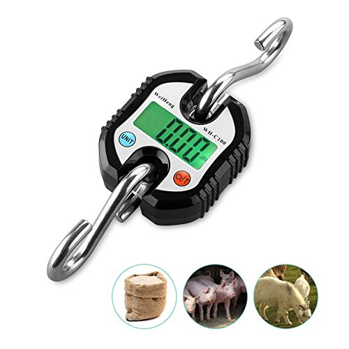 150 kg/300 lb Mini Portable Electronic Scale Digital Hanging Hook Scale Crane scale Balance LED backlight, for Farm, Hunting, Bow Draw Weight, Big Fish & Hoyer Lift with Accurate ()