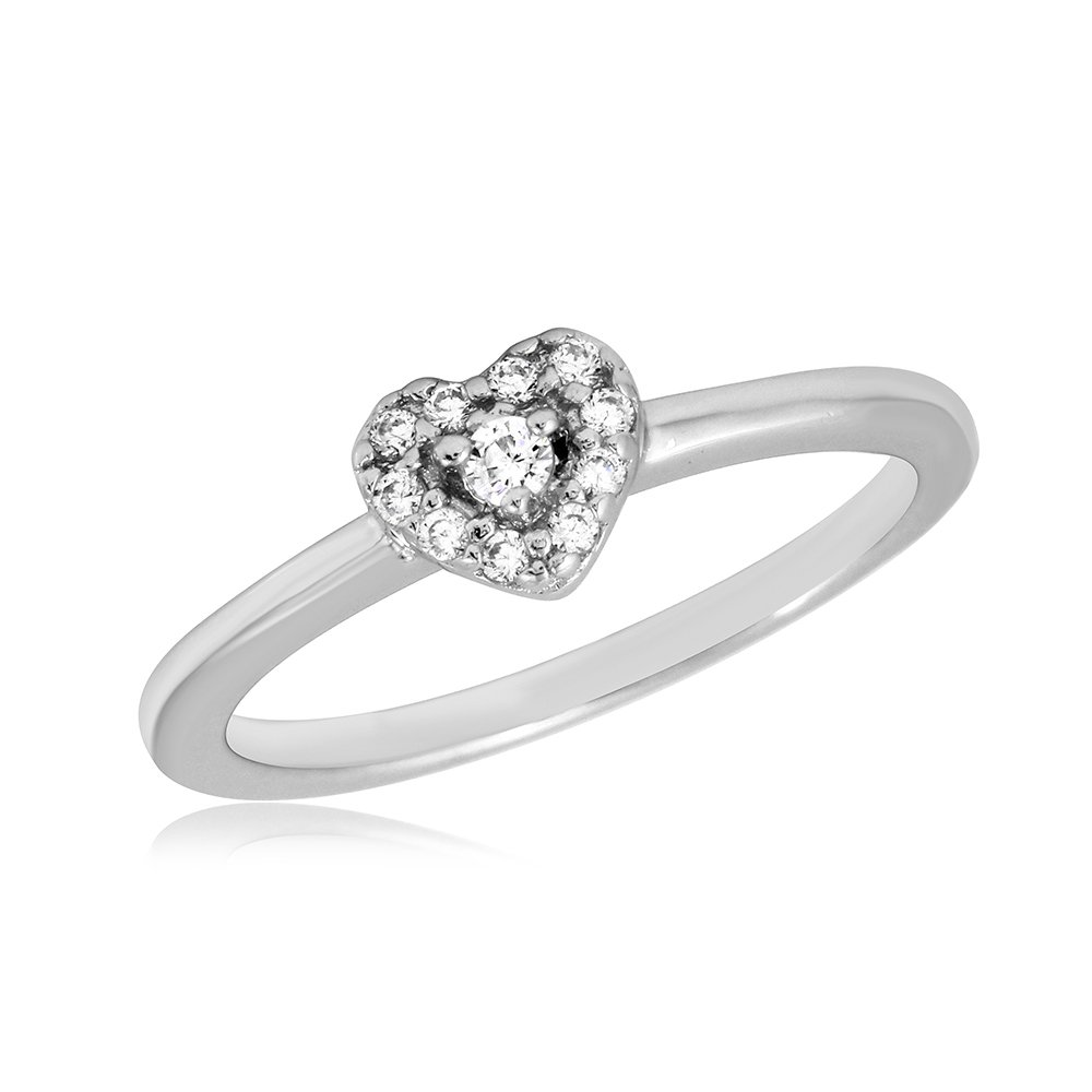Clear Cubic Zirconia Classic Heart Ring Rhodium Plated Sterling Silver