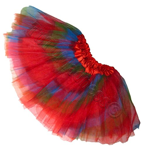 [Southern Wrag Company GIRLS Tutu S-M-L Plus Size (M:TUTU WAIST 22-44, RED RAINBOW TUTU)] (Rainbow Fairy Rave Dress)