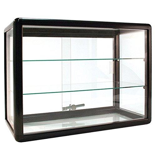 - New Aluminum Frame - Black Finish Countertop Showcase -24W x 12D x 18H