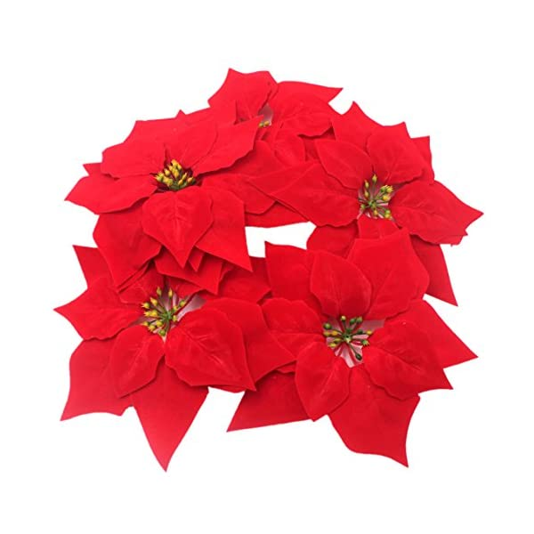 M2cbridge 50pcs Artificial Christmas Flowers Red Poinsettia Christmas Tree Ornaments Dia 8 Inches