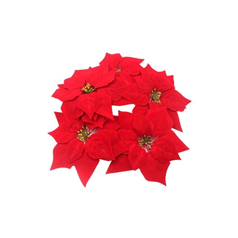 silk flower arrangements m2cbridge artificial christmas flowers red velvet poinsettia floral picks for christmas wreath tree ornaments(50pcs red a)