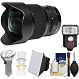 Sigma 20mm f/1.4 Art DG HSM Lens with Flash + Soft Box + Diffuser Bouncer + Kit for Canon EOS Digital SLR Cameras