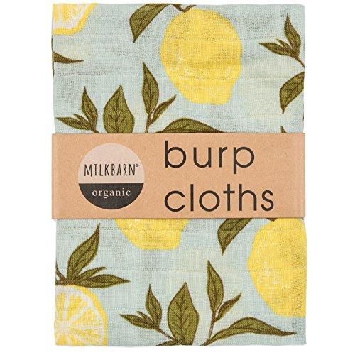 Milkbarn Organic Cotton Burp Cloths (2 pack) (Blue lemon)
