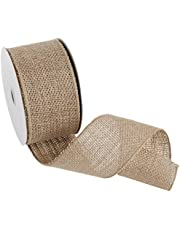"""Morex Ribbon Wired Burlap Ribbon, 2.5 inch by 10 yards, Natural, 1252.60/10-004 2-1/2"""", 10 yd"""