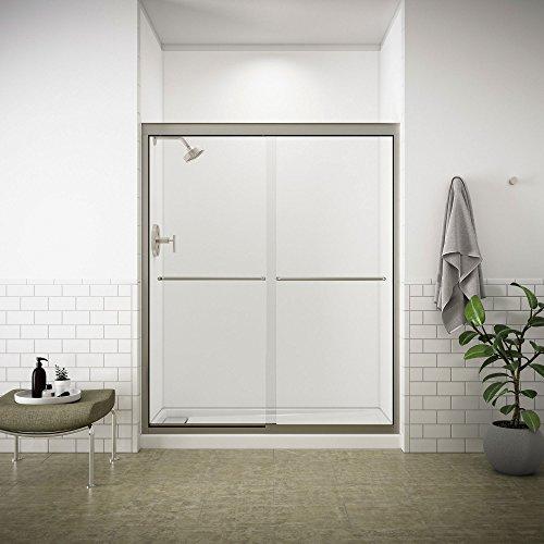 KOHLER K-702207-L-NX Fluence 3/8-Inch Thick Glass Bypass Shower Door, Brushed Nickel