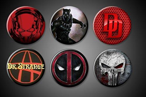 1.75' Button (Deadpool Magnets Large Ant-Man DareDevil Punisher Black Panther Dr. Strange Fridge Board 1.75