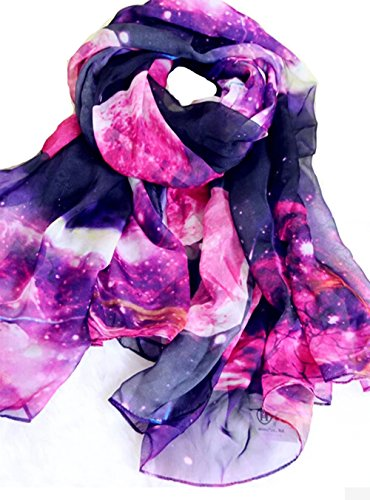 Silk Print Vest (JOYJULY Starry Sky Galaxy Star Space Printing Chiffon Long Wrap Scarves with Gift Box)