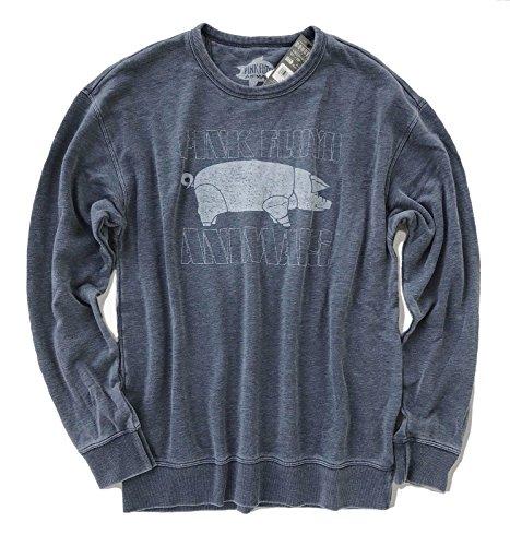 Lucky Brand Mens Burnout Pink Floyd Animals Crewneck Sweater American Navy (Medium)