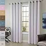 ChadMade Extra Wide Cotton Rayon Chenille Blackout Insulated Thermal Curtain Panel Drapes White 100Wx96L Inch (1 Panel) Anti- Bronze Grommet / Eyelet Top