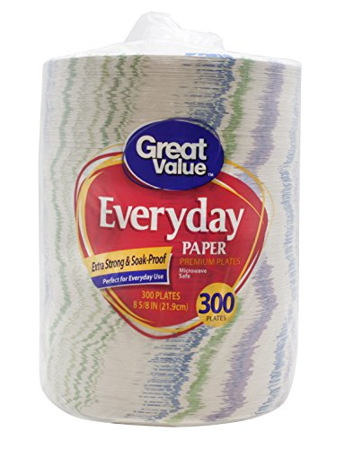 Great Value Everyday Premium Paper Plates, 8 5/8'', 300 Count by Great Value