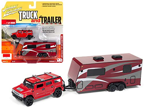 - 2004 Hummer H2 Red with Dark Red Camper Trailer Limited Edition to 4,000 Pieces Worldwide Truck and Trailer Series 3 1/64 Diecast Model Car by Johnny Lightning JLBT008/ JLSP037 B