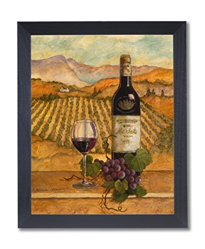 Merlot Wine Grapes with Vineyards Painting Wall Picture Black Framed Art Print ()