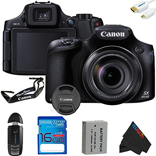 Canon PowerShot SX60 HS Digital Camera + 16GB Pixi-Basic Accessory Kit - International Version