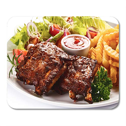 Semtomn Mouse Pad Barbecue Grilled Ribs French Fries and Vegetables on Barbecued Mousepad 9.8