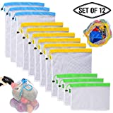 Reusable Mesh Produce Bags,Washable Grocery Produce bags, Set of 12/ Superior Double-Stitched Strength Bags with Weight Tags for Shopping & Storage of Fruit, Veggies, Grocery, Tools & Toys