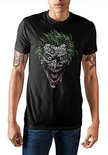 DC Comics Joker Shirt Hahaha Face Text Fill Men's T-Shirt (Large)