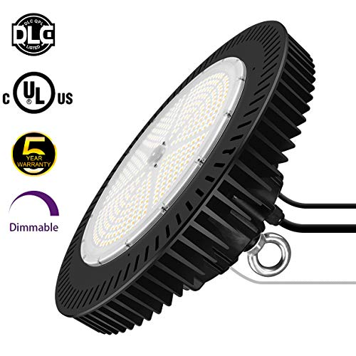 320W LED High Bay Lighting - UFO Dimmable Light Fixture (400W-1,000W Metal Halide Replacement) IP65 Waterproof 5000K Daylight for Warehouse Gym Workshop Factory UL DLC Listed