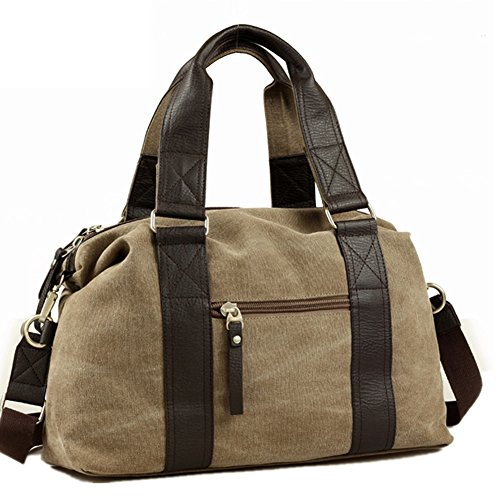 Toupons Fashion Vintage Medium Small Canvas Duffel Bag for Men Women Best Travel Luggage Tote Lightweight Carry on Bags (Khaki)