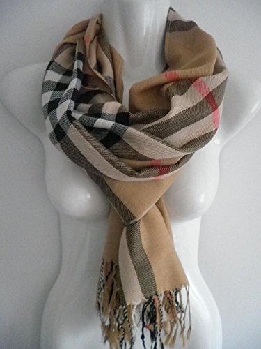 Headset Microphone Diva (Brown_PLAID/CHECK Lady Women Blanket Oversized Tartan Unisex (US)