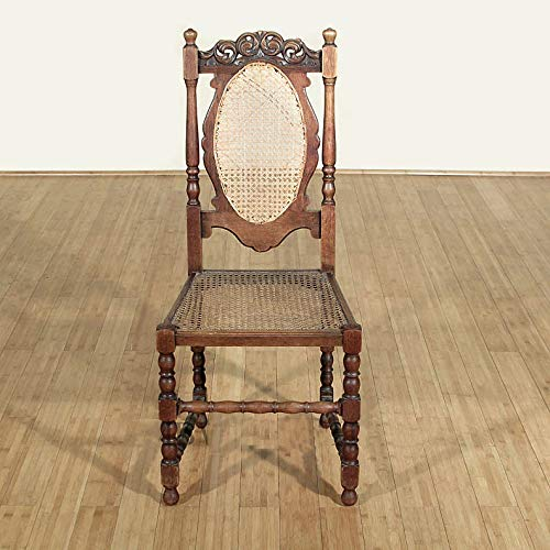 Antique Solid Oak Jacobean Rattan High Back Side Chair c1920 (Carved Oak Finials)