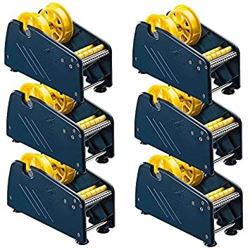 te-office 6 piezas plástico Dispensador Etiquetas Portarrollos Etiquetas Adhesivas dispositivo de MESA VENTOSAS manual 75mm rollenbreite Azul: Amazon.es: ...