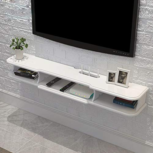 Floating Shelf Modern Wall Mounted Floating TV Shelf TV Console Home Media Entertainment Storage Shelf TV Stand TV Cabinet Sky Box Set Top Box Game Console (Color : White, Size : 120×24×14.6cm)