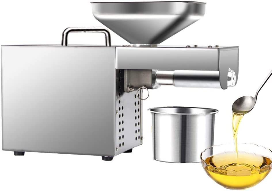 KUNHEWUHA Automatic Oil Press Machine Hot and Cold Oil Extractor Oil Expeller Commercial Home Stainless Steel 10-20kg/hour